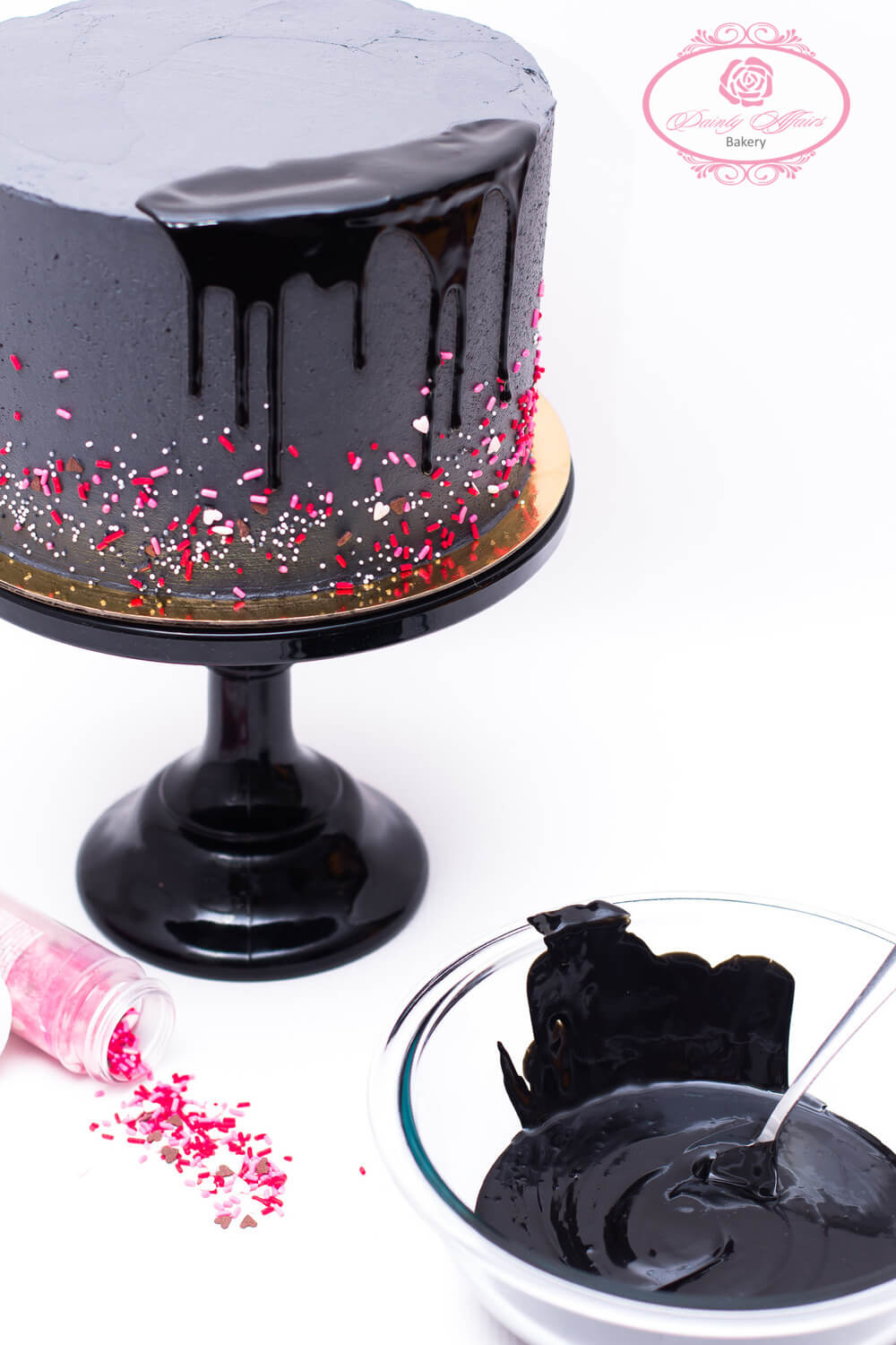 How To Make A Black Drip Cake Dainty Affairs Bakery Cakes