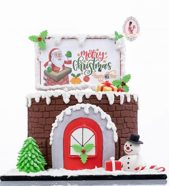 Brick house Snowman cake