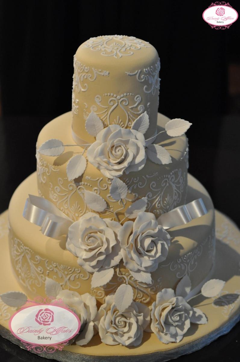 Custom Cake Design Bakery Gaithersburg Md : Traditional Wedding Cakes   Dainty Affairs Bakery Cakes ...